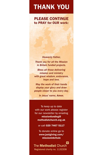 Mission in Britain Fund Thank You Bookmark