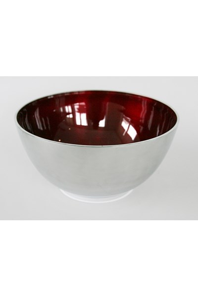 Large salad bowl, aluminium and enamel (red)