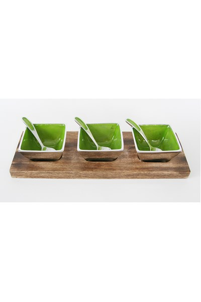 Lime aluminium dips and nibbles set
