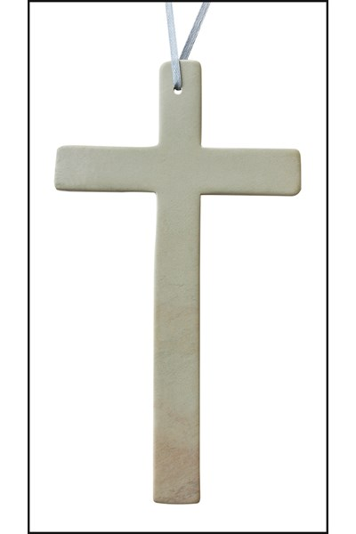 Hanging Natural Soapstone Cross - large, 20 cm
