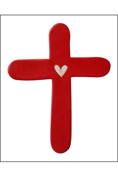 Red Palm Holding Cross with heart - 7 cm