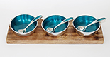 Turquoise aluminium dips and nibbles set